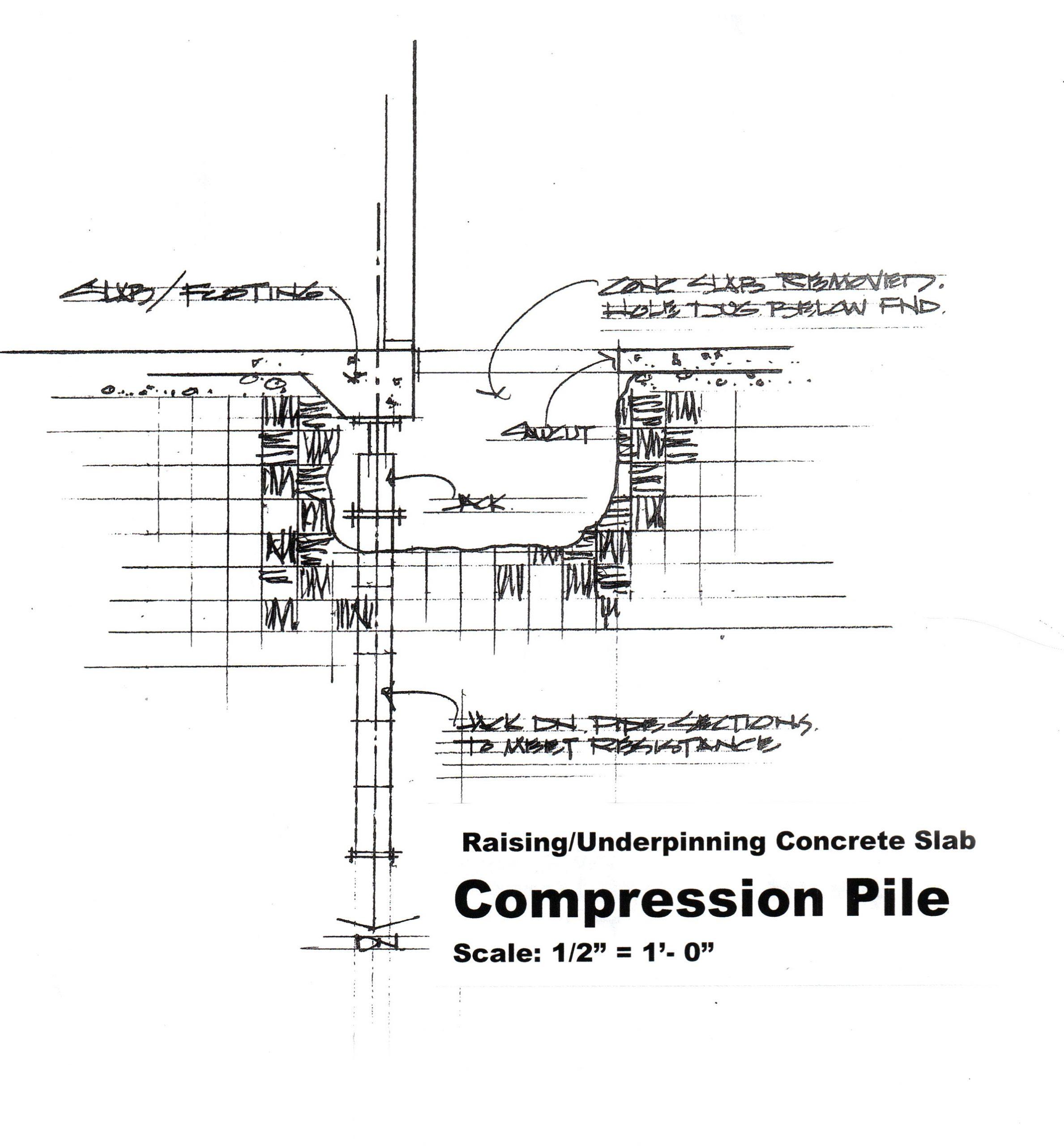 compression pile raising underpinning concrete slab